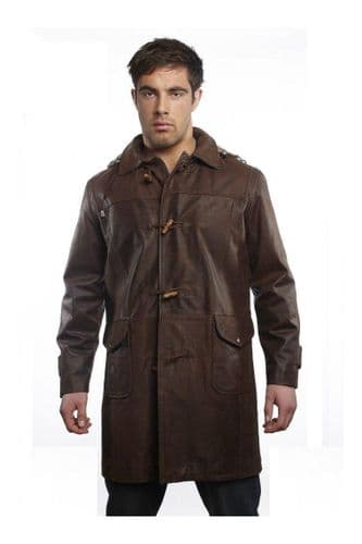 Men's Leather Duffle Coats in Brown